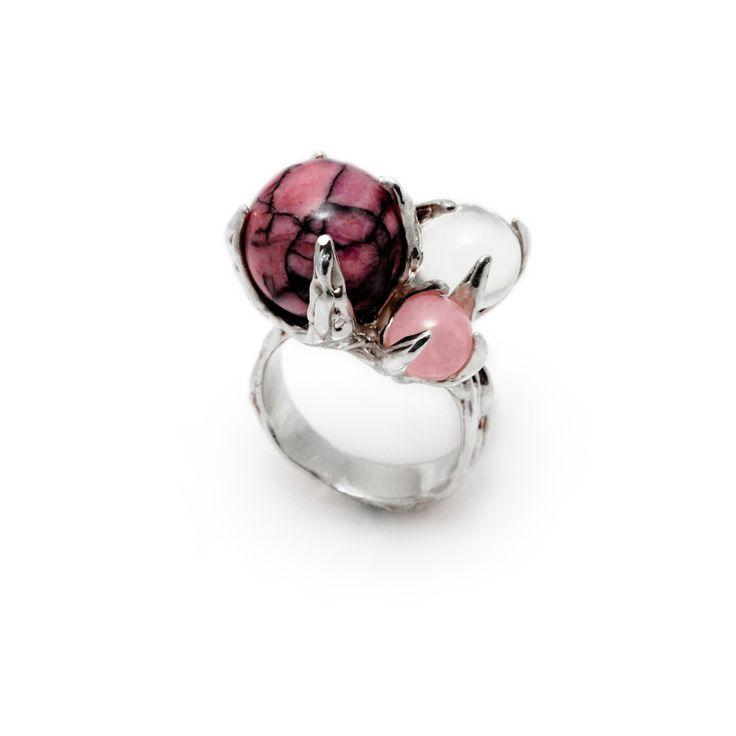 SPHERE RING SPUTNIK WITH RHODONITE, CLEAR QUARTZ AND ROSE QUARTZ #pulse_jewellery  #sterling #silver #925 #jewellery #jewelry #ring #rings #fluid #liquid #sphere #gemstone #rhodonite #clear #rose #quartz