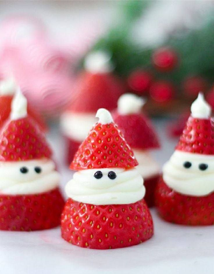Sweet strawberry snowmen are a great Christmas treat