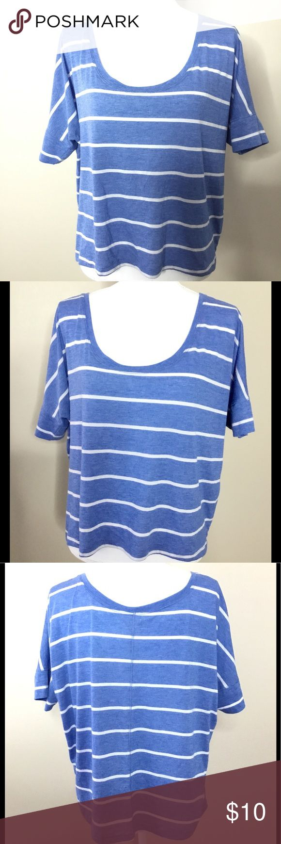 """AERIE Women's Size XL Blue White Striped T-Shirt Aerie women's striped blue and white shirt top size XL. Rayon and polyester.   Approximate measurements while lying flat:  Bust 26"""" Length 21"""" aerie Tops Tees - Short Sleeve"""