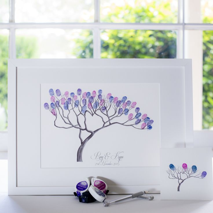 Bonsai B&W guest book for Wedding, funeral or other celebration. Illustrated by Ray Carter - The Fingerprint Tree® Made-to-order, ships worldwide. The Fingerprint Tree®, bespoke gifts you'll treasure!