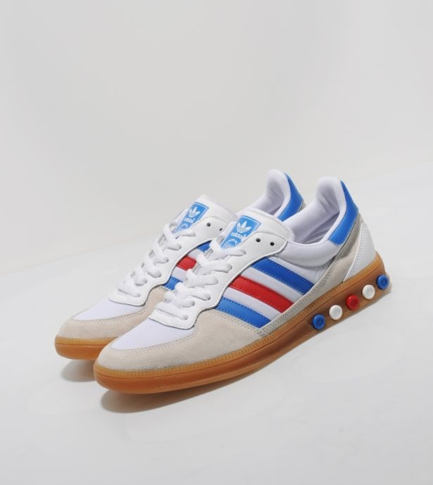 Adidas Originals Team GB Handball 5 Plug. Originally released in 1984, the Handball 5 Plug was part of a range of indoor sport trainers that utilised the peg support system, which allowed wearers to adjust the impact and hardness of the mid sole. £40