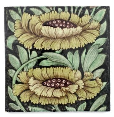 Marlborough tile by William De Morgan, painted in shades of green, yellow and aubergine, 20.5 cm sqare. Made in his Sand`s End studio