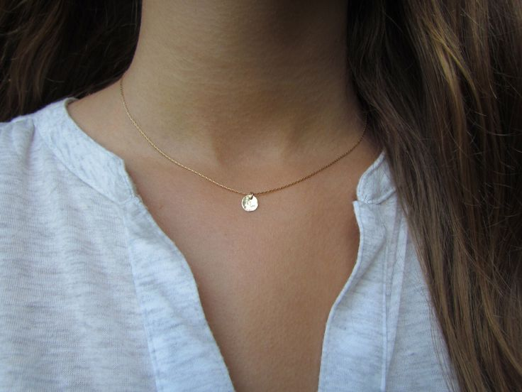 Tiny Gold Disc Necklace, Dainty Gold Necklace, Hammered Gold Disc Necklace, Delicate Gold Necklace, Simple Everyday Jewelry, Dainty Pendant by ravitschwartz on Etsy https://www.etsy.com/listing/235746498/tiny-gold-disc-necklace-dainty-gold