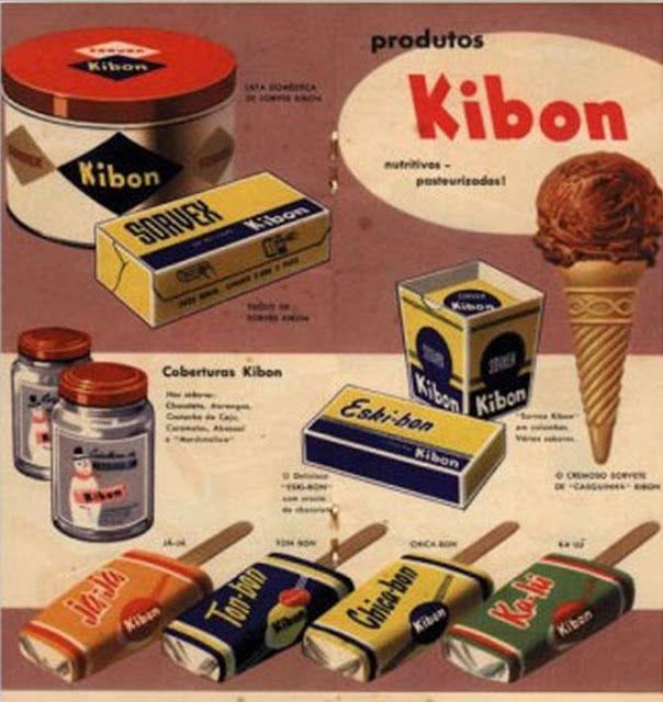 Anúncio  de 1955, e mostra o Eskibon, lançado em 1942. da caixinha, copinho, lata e tijolo. Além do já-já (côco), ton-bon (limão) e ka-l...