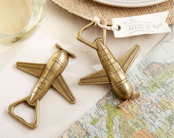 100sets LOT NEW ARRIVAL High Quality Let the Adventure Begin Antique Airplane Bottle Opener Wedding Favors