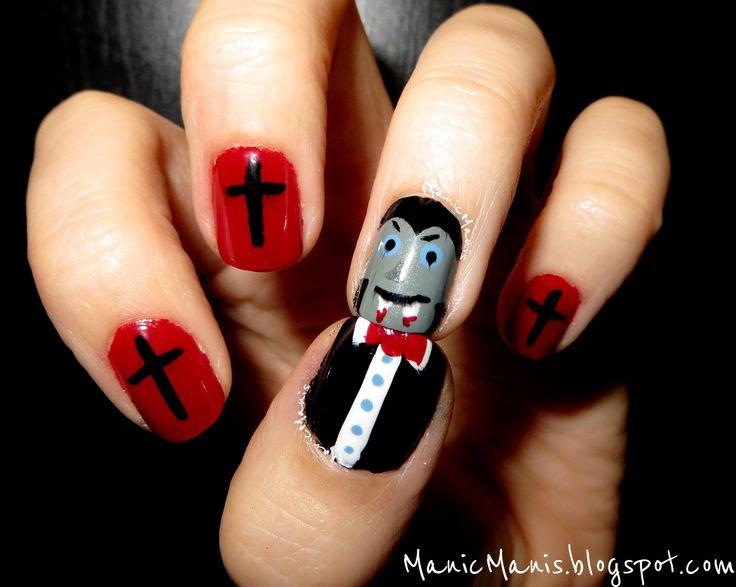 Dracula nail art for Halloween - 35 Best Nails Images On Pinterest Sharp Nails, Vampire Nails And