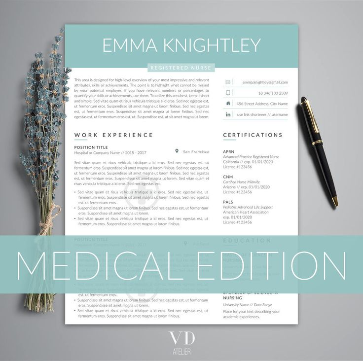 Doctor Resume Template for Word, Nurse Resume Template | Nurse CV Template | RN Resume, Medical Resume | US Letter & A4 | 1,2,3 Page Resume by VDAtelier on Etsy