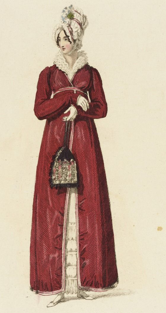 Promenade dress, fashion plate, hand-colored engraving on paper, pujblished in Ackermann's Repository, London, December 1816.