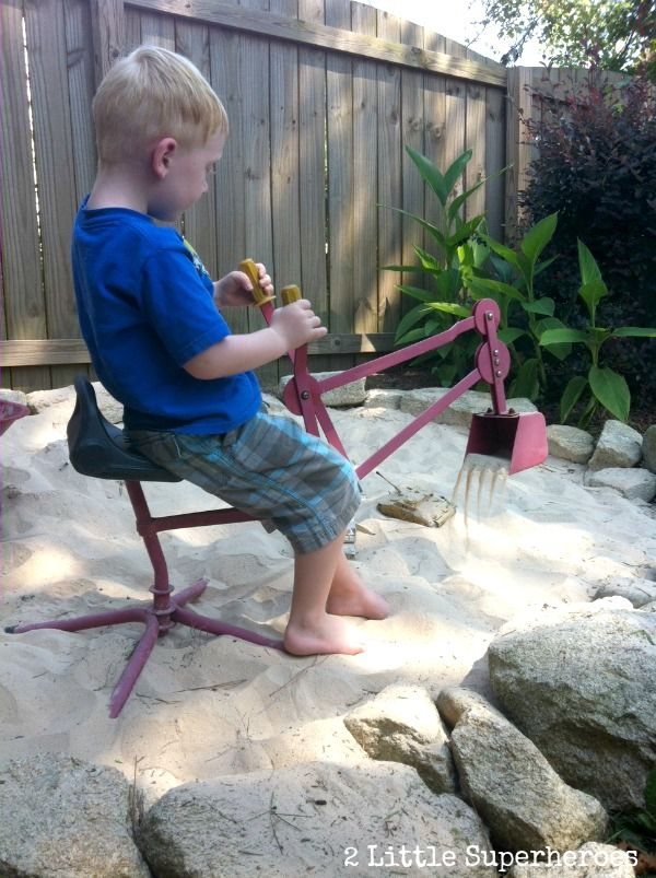 Children can bring their tools or toys to sandbox. It can make more stories.
