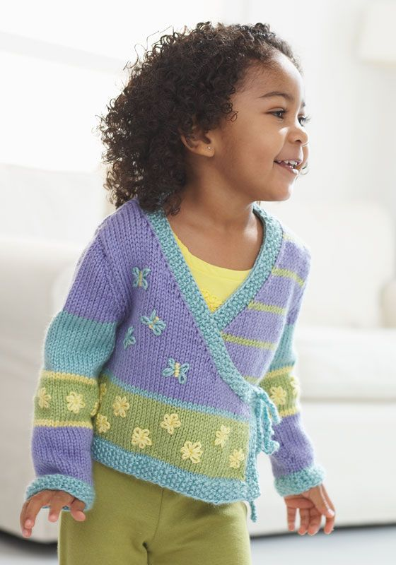 free knitting pattern for a child's sweater from Caron Free baby sweater knitting patterns at http://intheloopknitting.com/free-baby-and-child-sweater-knitting-patterns/