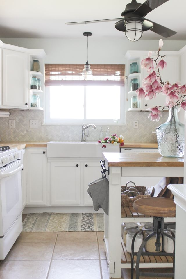 cozy spring home tour farmhouse kitchen and magnolia blooms v like the ceiling
