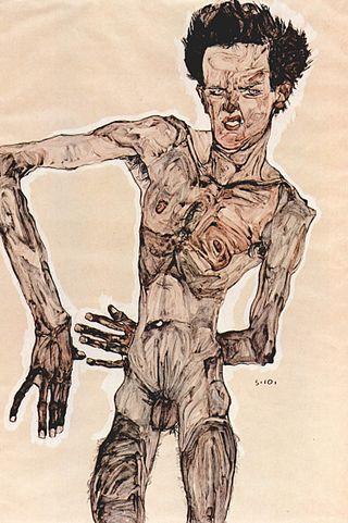 Egon Schiele, Autoritratto, matita, tempera e acquerello su carta, 1910