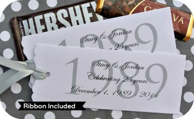 Personalized Candy Bar Wrappers - 25th Wedding Anniversary