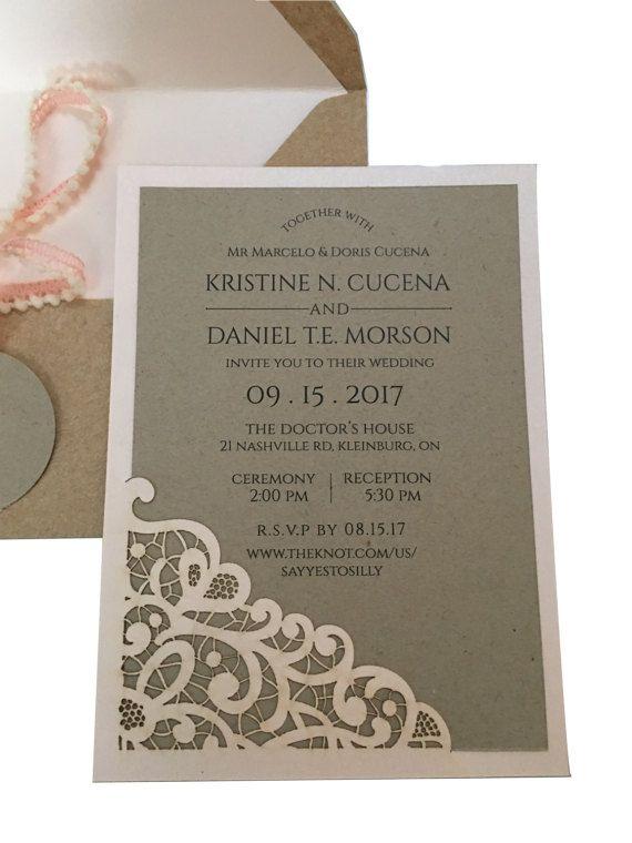 Lace Laser Cut Wedding Invitation by pulpandponder on Etsy #lasercutlaceinvitation #lasercutinvitation #customlasercut #blush #pink #lace #kraft #custom #envelopeliner