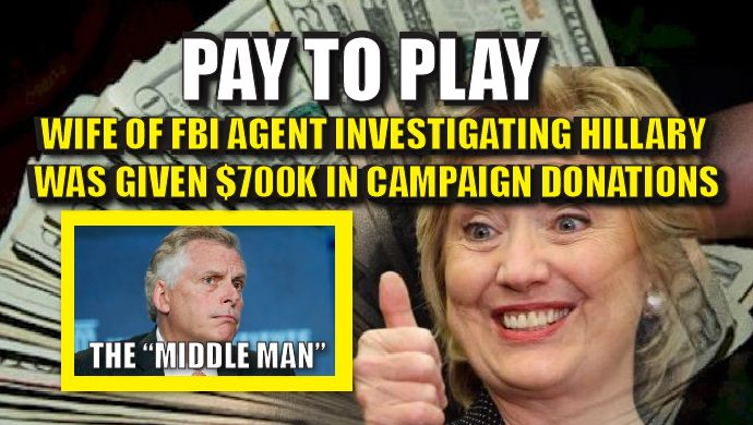 Oh look, more PAY TO PLAY from Clinton and her team of CROOKS. This time Hillary PAID The FBI to PLAY ALONG in her EMAIL investigation. Virginia Governer Terry McAuliffe, who is a trusted ally of Hillary Clinton, funneled $700k in donations to the campaign of the spouse of an FBI official who then oversaw Clinton's email investigation. Think about that. A Democrat supporter of Clinton FUNNELED well over half a million dollars to the WIFE of the FBI agent investigating Hillary's emails. The…