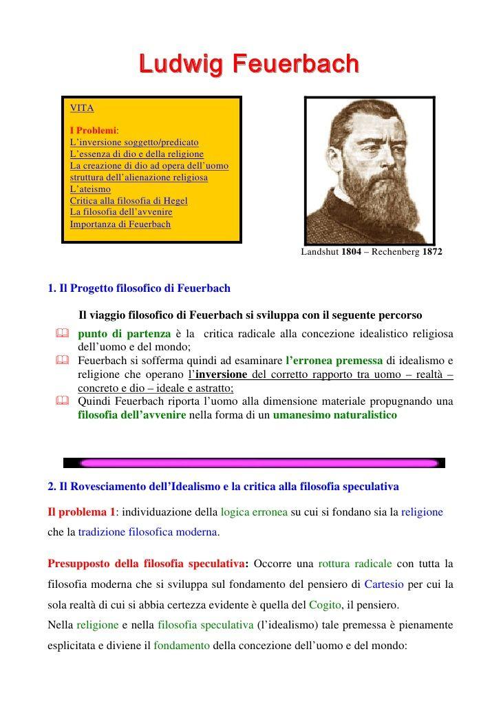 Schema riassuntivo della filosofia feuerbachiana, i principali temi (evidenziati nel quadrato giallo) e l'analisi sul rovesciamento dei rapporti di predicazione. Di Gianfranco Marini