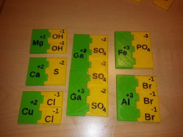 3D print ionic compound bonding sheet. Manipulatives students can use to make ionic compounds and write their chemical formulas. Print positive and negative ions in different colors. The models pictured were printed at 70% to reduce the printing time. I added blank pieces so you can make additional ions by adding the symbol and charge, or just print the blanks and write them on with a marker. ** I made a new Iodide so the I won't be confused with a lowercase l in Al and Cl…