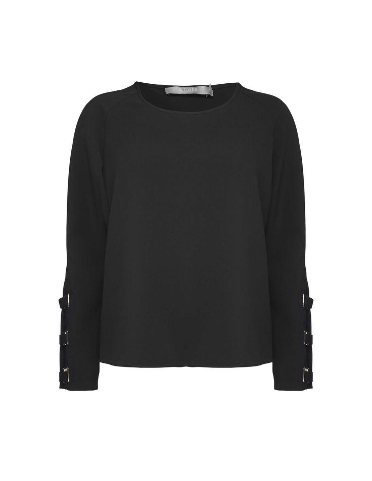Keia top - Women's long-sleeved top in viscose. Features slight boat neck. Slit at sleeve with eyelets and main fabric strips across to close. Regular fit.