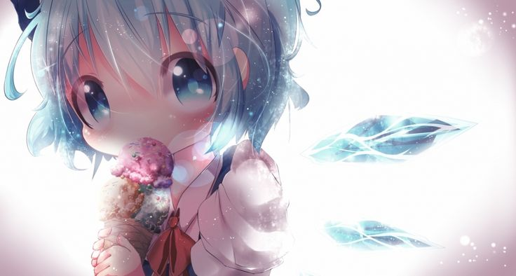 This is a cute cirno anime wallpaper she is so adorable - Anime girl ice cream ...