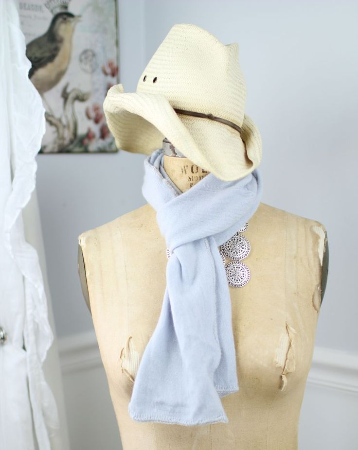 Dusty pale blue cashmere scarf