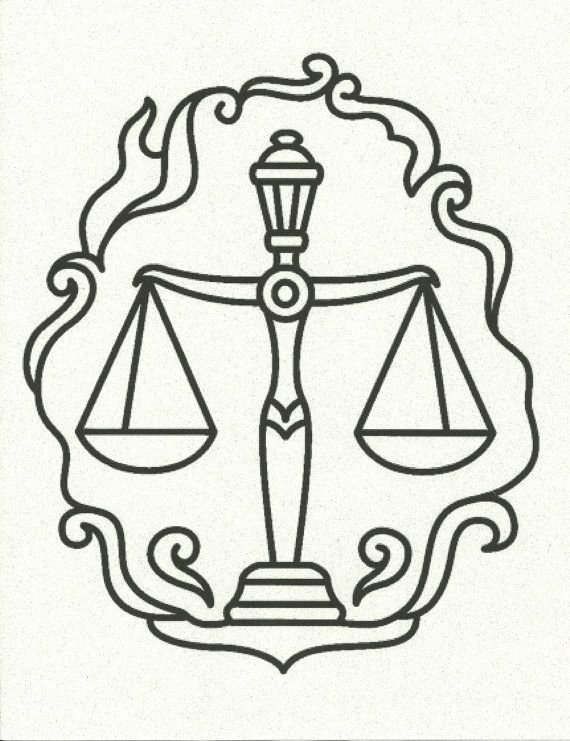 Libra Scales of Justice Zodiac Horoscope Symbol on a vintage book page or in color.  $6.00