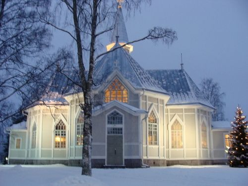 Kälviä Church, West Coast of Finland at Christmas.