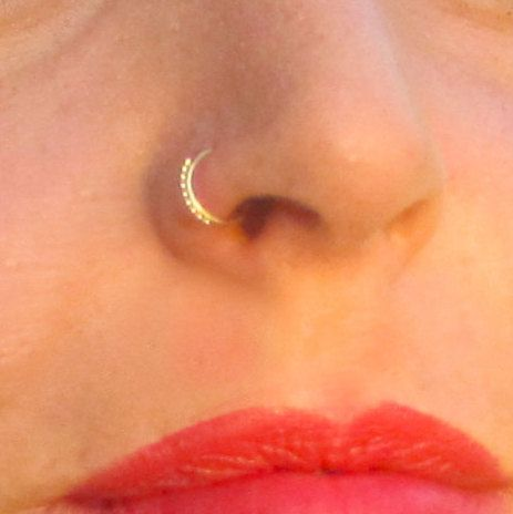 Gold nose ring Tribal nose ring Indian nose by ShirazelohevJewelry