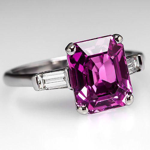 Emerald Cut Pink Sapphire Engagement Ring w Diamonds Solid Platinum Jewelry