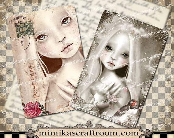 DOLL  Digital Collage Sheet on Printable Paper by mimikascraftroom