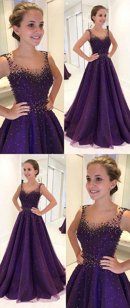 dark purple A-line beaded long prom dress for girls, PD5476 #fashion #shopping #dresses #eveningdresses #2018prom #PartyFrocks