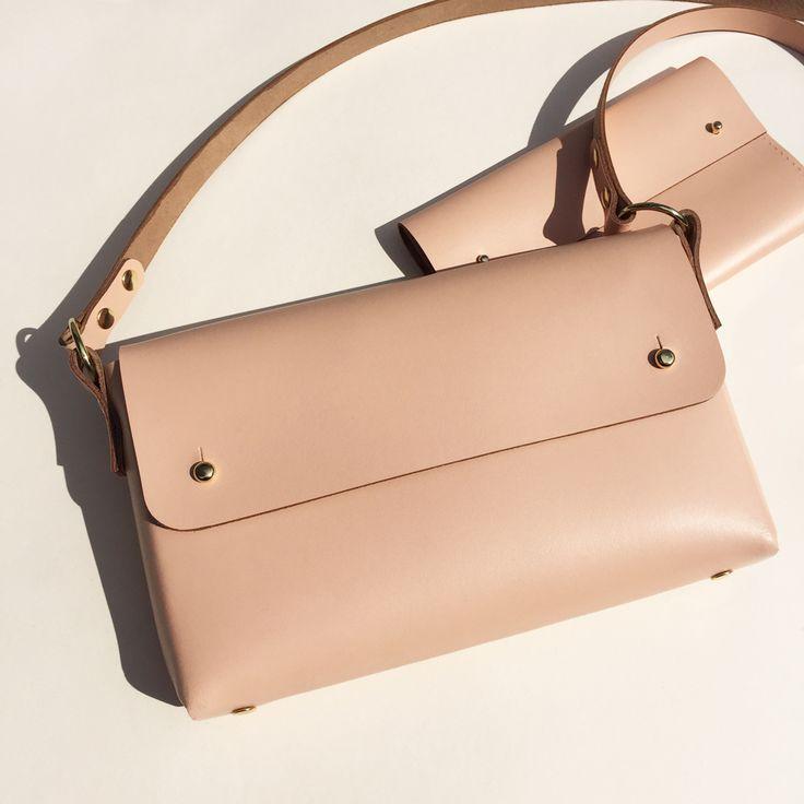 MARA - Leather cross-body bag - Light Pink/Peach Handmade to order in