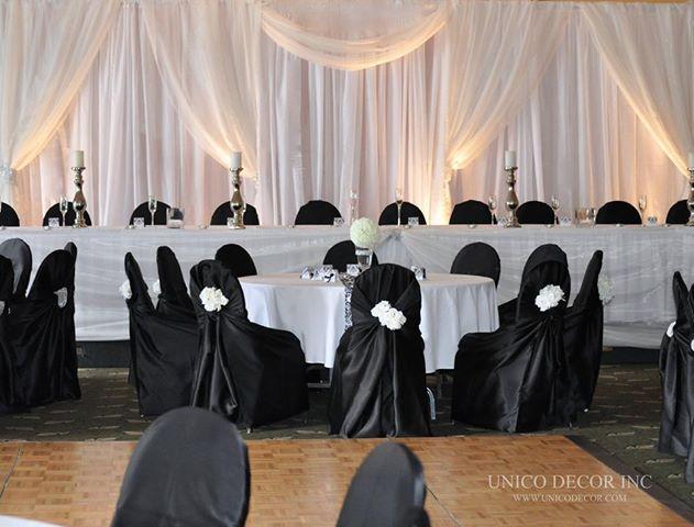 Simple & elegant ceremony decor at the Miramichi Rodd.  (www.unicodecor.com)