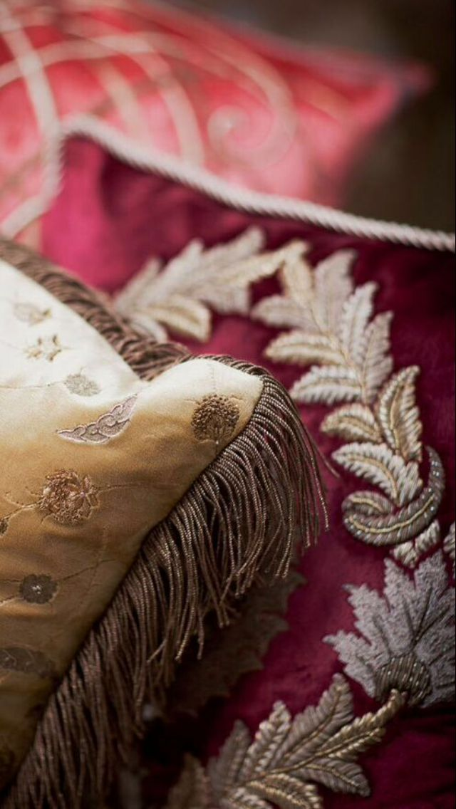 Opulently embroidered raised laurel wreaths surround the finely worked central motif in subtly aged gold and silver thread. The Rossini Cushion - Beaumont & Fletcher