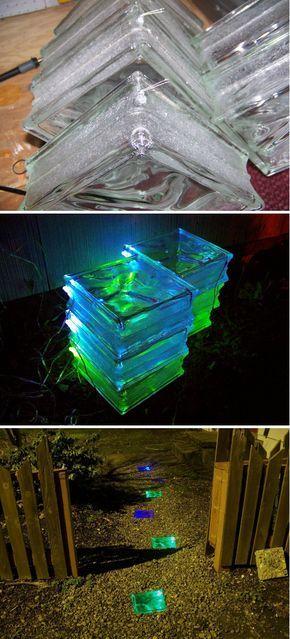 Solar beleuchtete Glasbausteine
