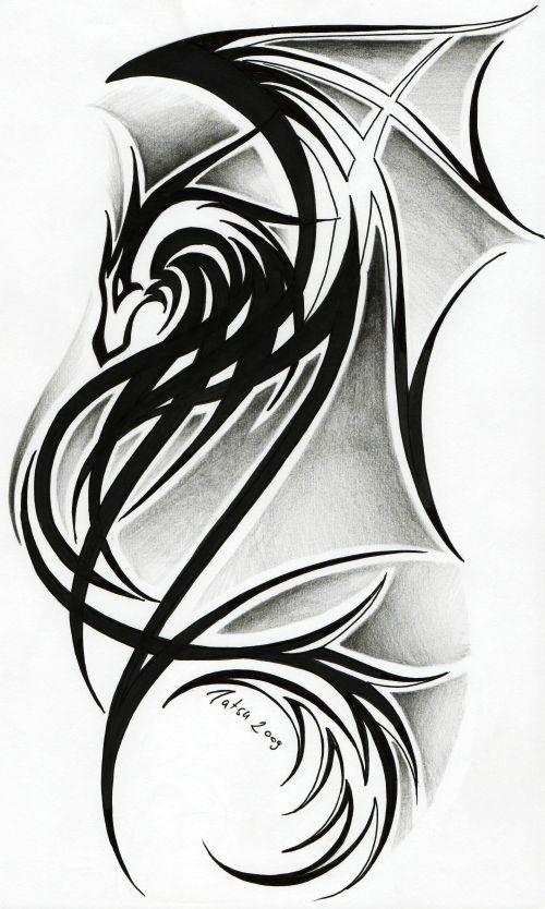 celtic dragon tribal tattoos | Dragon tattoo II. by *Tatsu87 on deviantART. I like the Celtic idea.