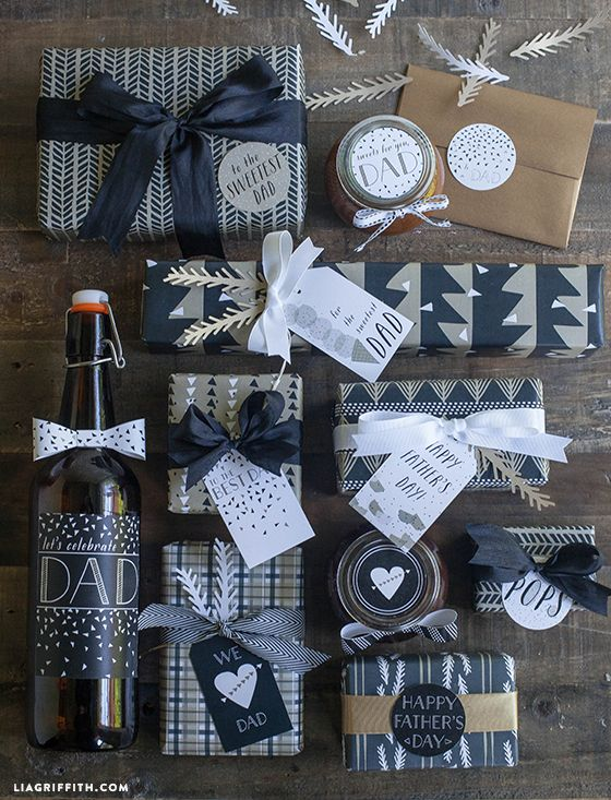 Printable Father's Day Gift Wrap and Tags