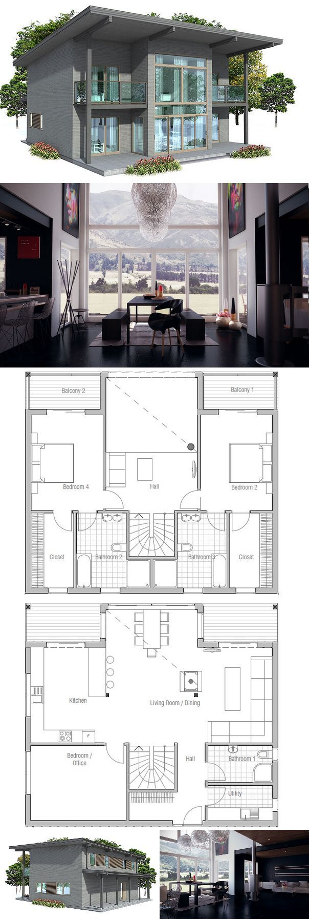 Small House Plan with three bedrooms. Floor plan from ConceptHome.com