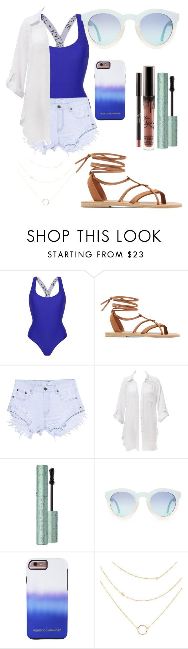 """kendall+kylie"" by tamanna56 ❤ liked on Polyvore featuring Topshop, Valia Gabriel, One Teaspoon, Beauty & The Beach, Too Faced Cosmetics, Rebecca Minkoff, GetTheLook and Swimsuits"