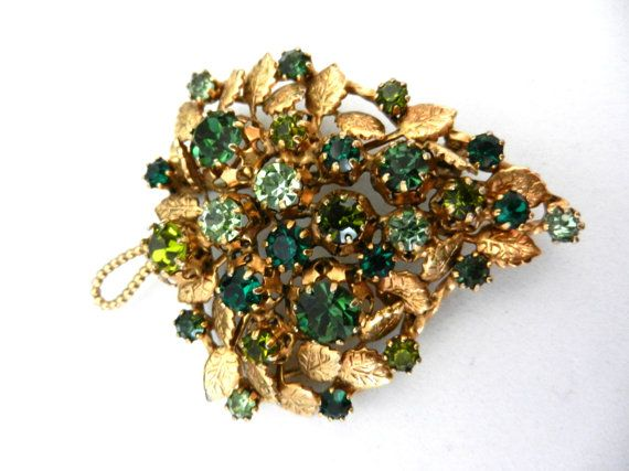 Grandiose ancient brooch 1950  large leaf by RAKcreations on Etsy