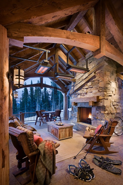 If I ever have a mountain home....quite possibly would consider such a room. :) Outdoor porch with heat lamps