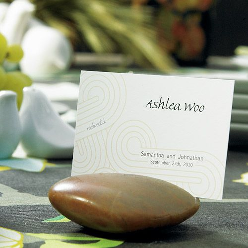 Achieve a Zen-like atmosphere when you incorporate these polished stones into your table settings as your place card holders and #eco-friendly #wedding #favors. Each stone has been etched on one side to accommodate a suitable stationery card.