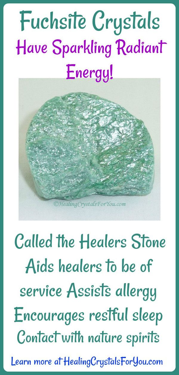 Fuchsite Crystals have sparkling radiant energy! It is known as the Healers Stone as it aids healers in their work. It assists allergy, encourages restful sleep and aids contact with nature spirits