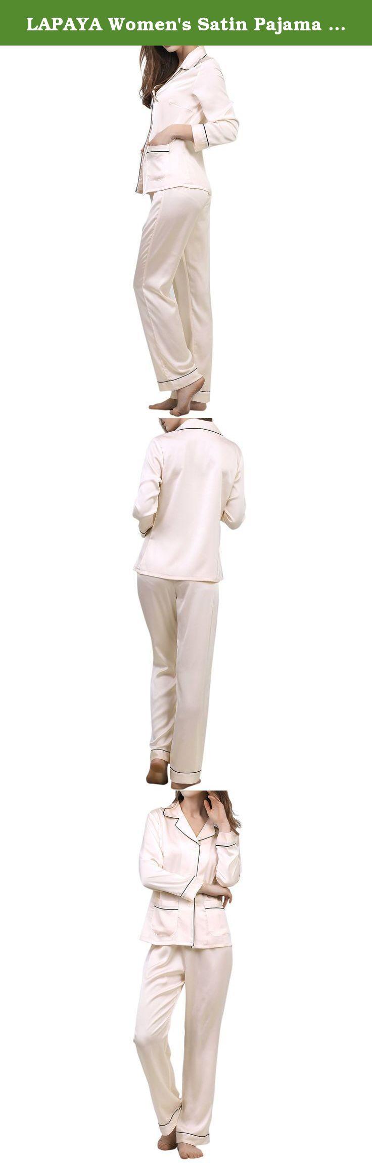 LAPAYA Women's Satin Pajama Sets Long Sleeve Button Down Silky Two Piece Pajamas, Light Pink, Tag size L=US size S. LAPAYA Women's Satin Pajama Sets Long Sleeve Button Down Silky Two Piece Pajamas.