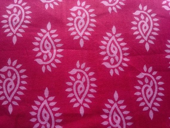 Cotton Block Print Henna Paisley Floral Indian Fabric By RaajMa