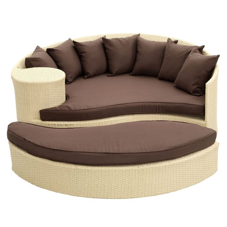 amazoncom lexmod taiji outdoor wicker patio daybed with ottoman in espresso with mocha