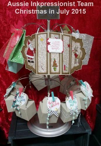 Christmas in July Displays - Stampin' Up! Bakers Box die, Santa's Gifts stamp set
