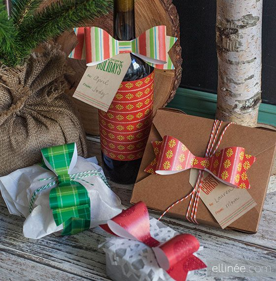 Easy DIY Printable Paper Bows for Christmas Gifts