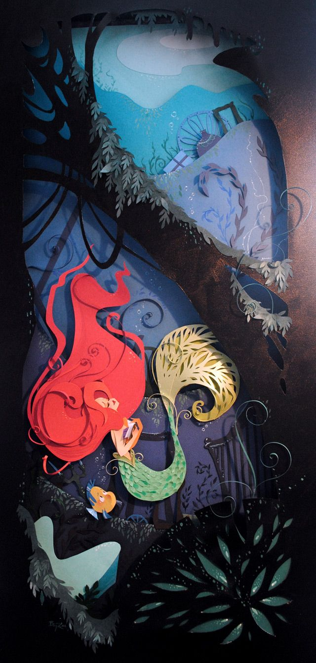 Brittney Lee is an artist currently working for Walt Disney Animation Studios in Burbank, California where she loves working with traditional media (especially paper) whenever she has the chance. Her inspiration for this particular piece was brought about by a classic movie from her childhood which actually happens to be one of my favorites as well, The Little Mermaid.