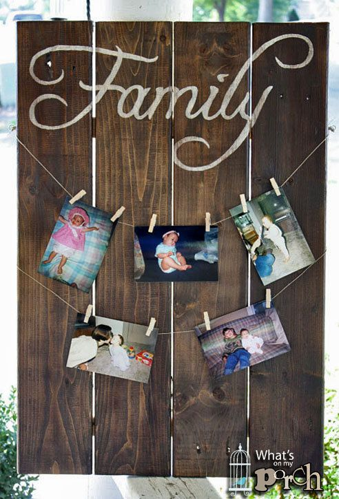 Large Wood FAMILY sign w/clothesline - hand painted, pallet, vintage, free shipping. ~What's On My Porch