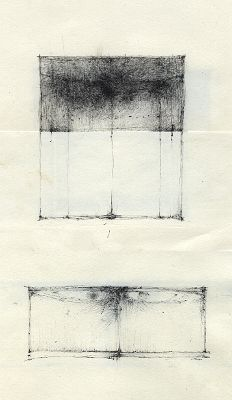 """""""thoughts of wings in boxes"""" [two separate drawings]"""